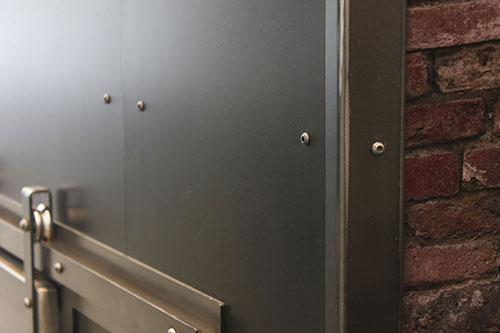 Rivets fireplace wall panel accents