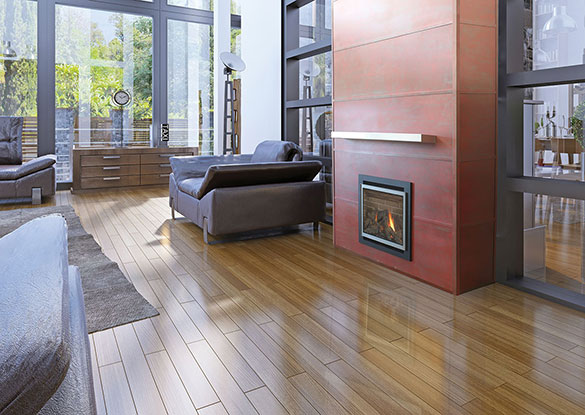 Horizontal fireplace wall panels