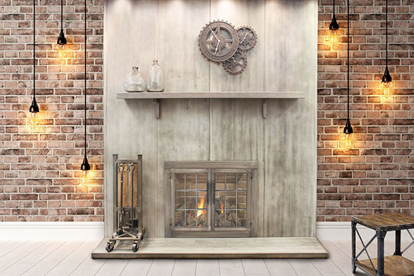 Vertical fireplace wall panels